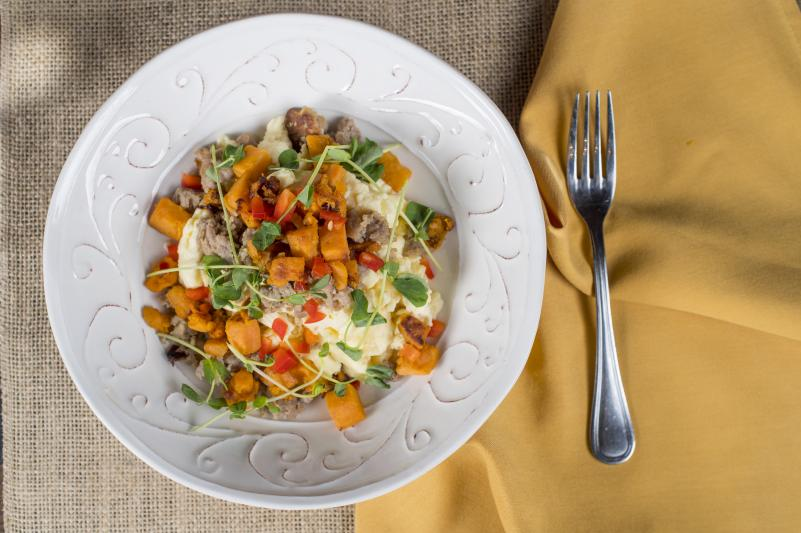 Italian Sausage & Egg Scrambler with Red Pepper & Cheddar Cheese