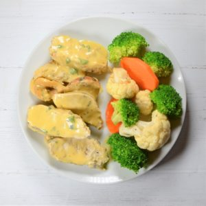 Honey Mustard Chicken with Roasted Broccoli and Cauliflower