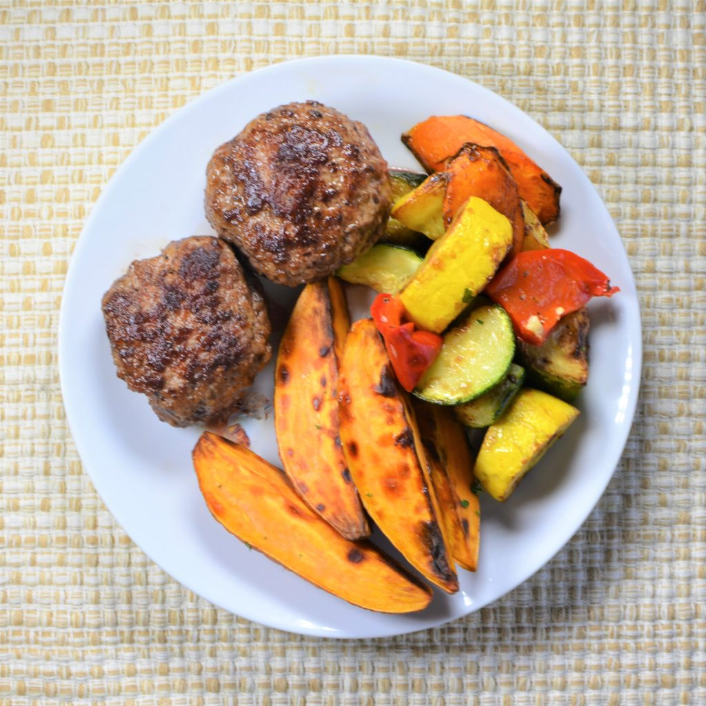 Beef Burger with Sweet Potato Wedges and Vegetable Medley (Balance)