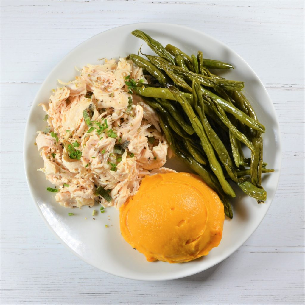 Shredded Herbed Chicken with Butternut Squash Mash and Green Bean Almondine