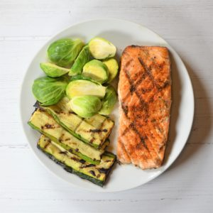 Maple Glazed Salmon with Roasted Root Vegetables and Brussel Sprouts