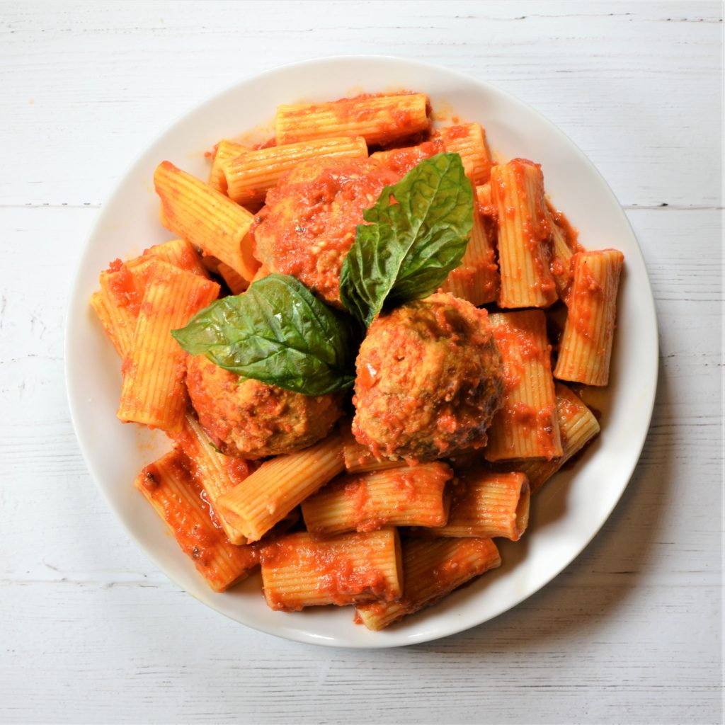 Homemade Rigatoni & Chicken Meatballs