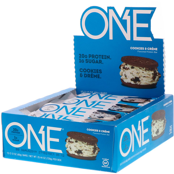 Cookies and Cream Protein Bar – ONE brand (12 bars per box)
