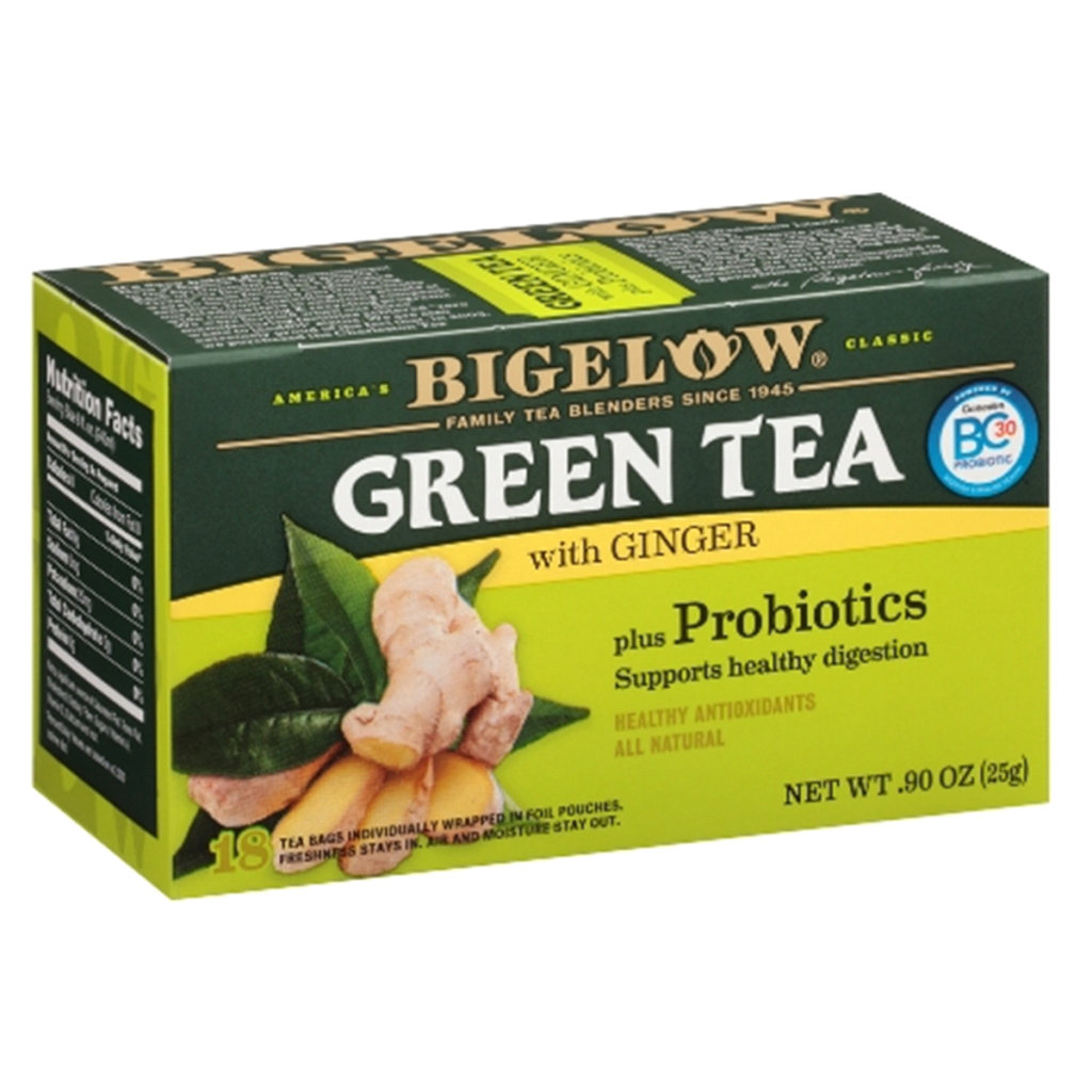 Green Tea with Ginger & Probiotics – Bigelow (1 box, 18 tea bags)