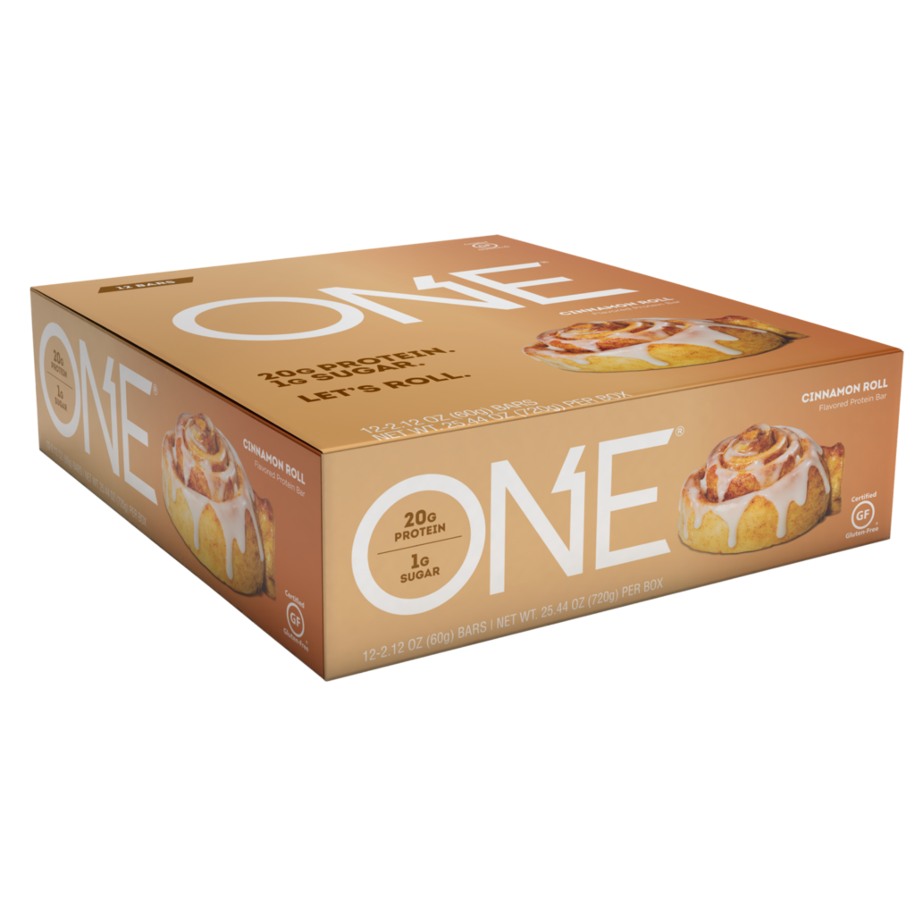 Cinnamon Roll Protein Bar – ONE brand (12 bars per box)
