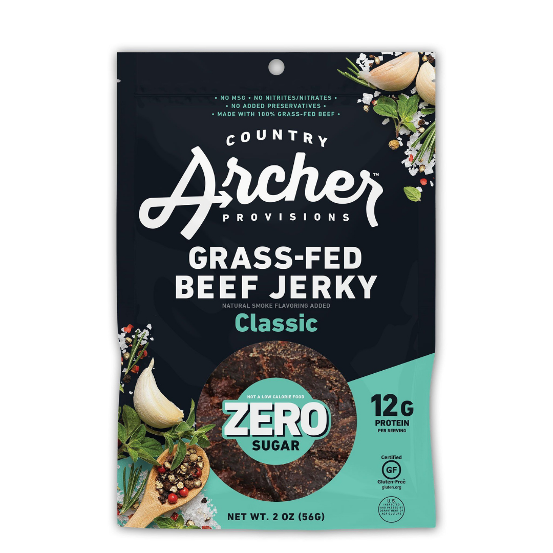 Zero Sugar Classic Grass-Beef Jerky – Country Archer (1 bag, 3 oz)