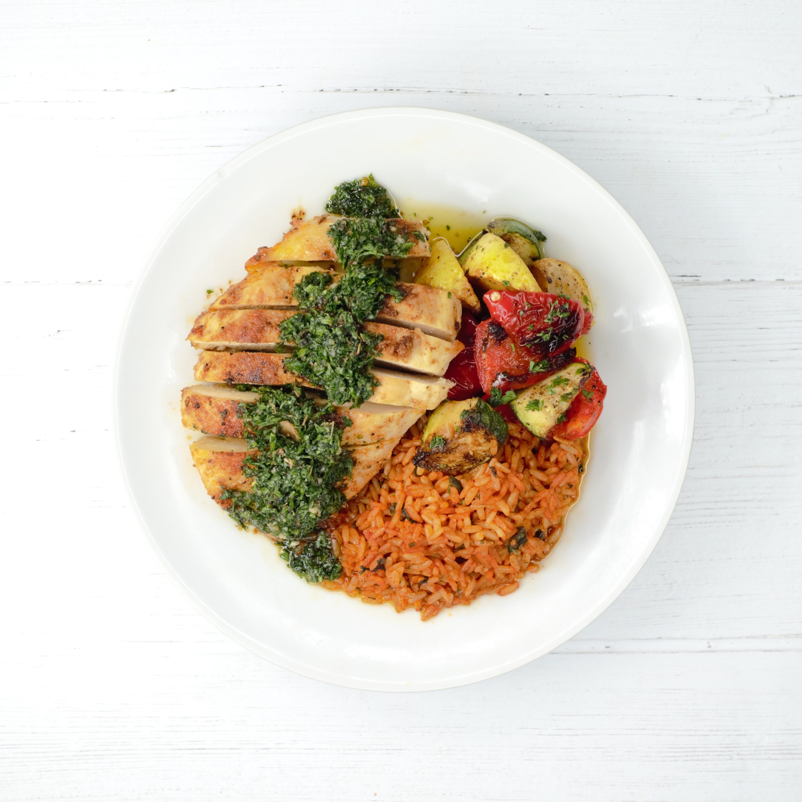 Chicken Chimichurri with Spanish Rice